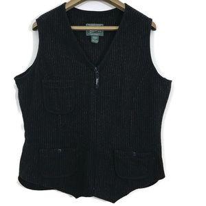 Woolrich Sleeveless Zippered Front Wool Blend Vest